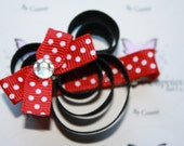 Red Minnie Mouse Inspired Ribbon Sculpture Bow or Clip. Free Ship Promo.