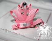 Sculpture Clippies' Princess Tiara Crown Ribbon Sculpture Hair Bow. Tiara Crown Clip.  Free Ship Promo