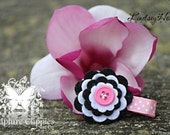 Sculpture Clippies' Pink and Black Felt Flower Clip.  Free Ship Promo.