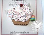 Sculpture Clippie's  White Cupcake Sculpture Ribbon Hair bow.  White Cupcake Rhinestone Ribbon Sculpture Hair Bow Clip. Free Ship Promo.