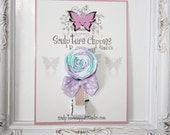 Lavender Aqua White Lollipop Sculpture Ribbon Hair bow.  Free Ship promo