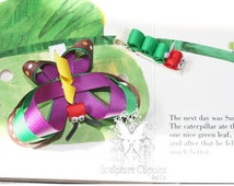 The Hungry Catapillar Bow. Catapillar Ribbon sculpture bow. Free Ship Promo.
