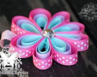 Girls Megan Pink Aqua Lavender Flower Bow.  Infant Toddler Teens Megan Sculpture Ribbon Flower Clippie.