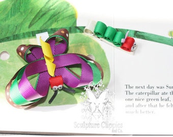 The Hungry Catapillar Bow. Catapillar Ribbon sculpture bow. Free Ship Promo.