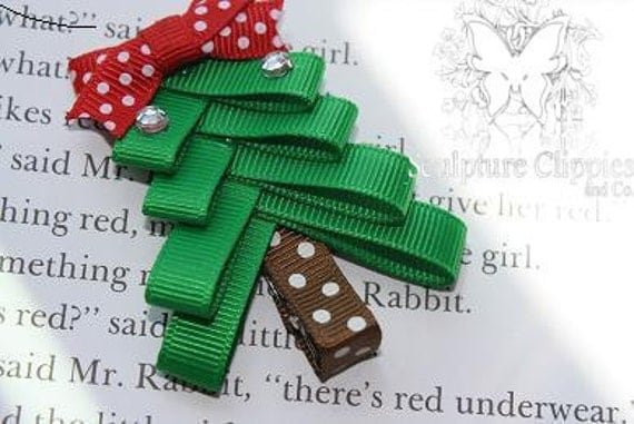 Christmas Tree Sculpture Ribbon Hair clip.  Christmas Tree Bow. Free Ship Promo