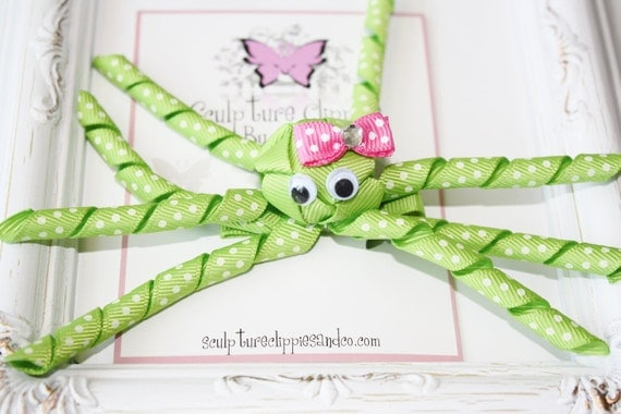 Green Octopus Ribbon Sculpture Hair Clip. Octopus Sculpture Bow. Free Ship Promo.