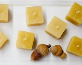 Mini Four Cube Bee Votives - Natural Beeswax - Includes Free Porcelain Holder