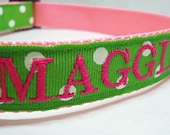 Personalized Embroidered Dog ID Collar- Green and White Polka Dots
