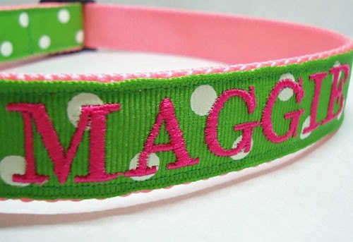 Personalized Embroidered Dog Id Collar Green And White Polka