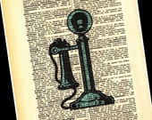 Vintage Old Antique Telephone Print On Dictionary Page 8X10 Picture Wall Art