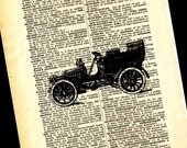 Vintage Antique Car Print On Dictionary Page 8X10 Picture Wall Art