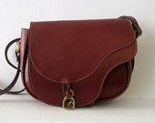 Mahogany Leather Saddle Bag w/ Long Strap