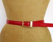 fire engine red skinny leather belt // Claiborne L