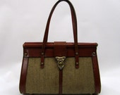 1960s tweed & leather purse // John Romain style (as-is)