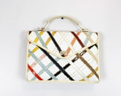 SALE 1970s white lattice top handle satchel