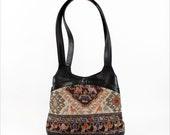 tribal kilim purse / black leather bucket bag / ethnic tapestry