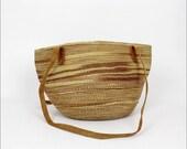 sandy straw bag / woven basket tote / tan striped market bag