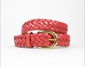 HOLD pink leather braided belt (s/m)