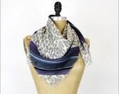 leopard & stripe wool scarf | 80s new wave