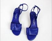 HOLD cobalt blue leather sandals 8 / wood wedge heel