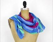 color block silk scarf / Liz Claiborne 80s stripe scarf
