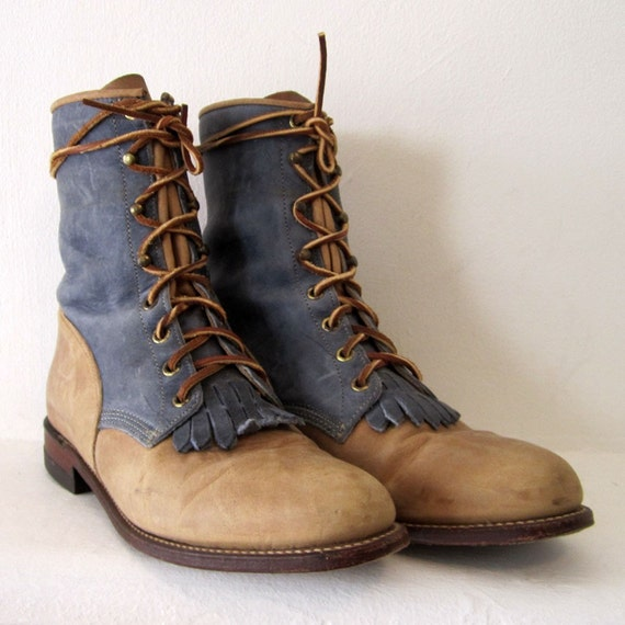 vintage blue sand suede roper boots justin 9 by omniavtg