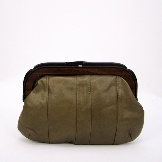 olive leather clutch // faux bois frame