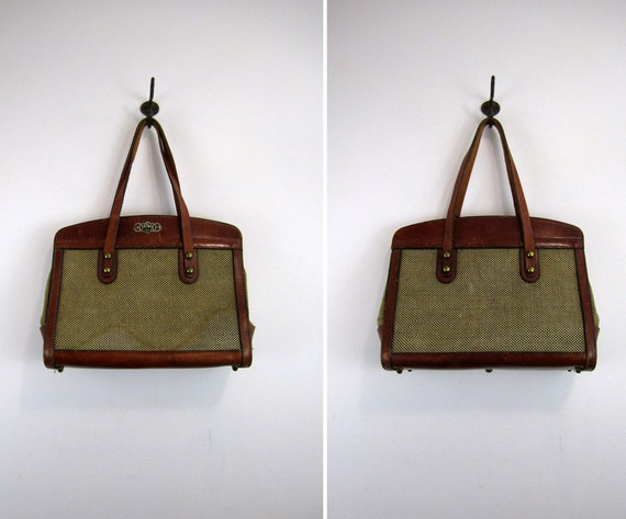 John Romain 1960s large tweed & leather purse // as-is