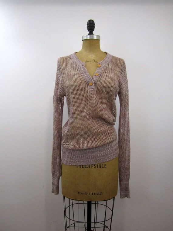 open knit lavender slouch sweater (s/m)