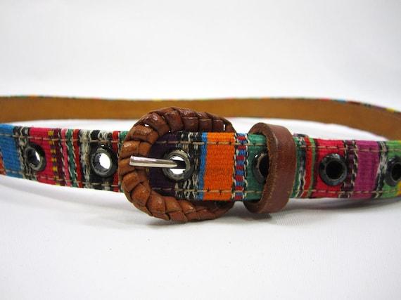 skinny latin woven belt - colorful folk design (s)
