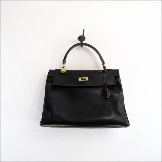 vintage birkin style black leather purse