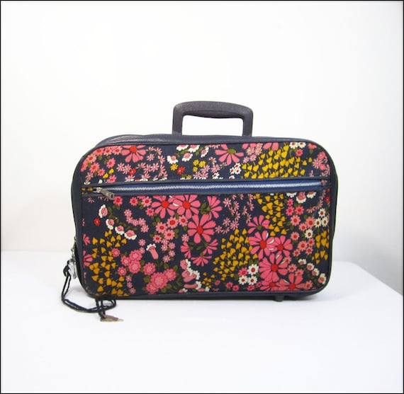 1960s pink floral little girl's suitcase