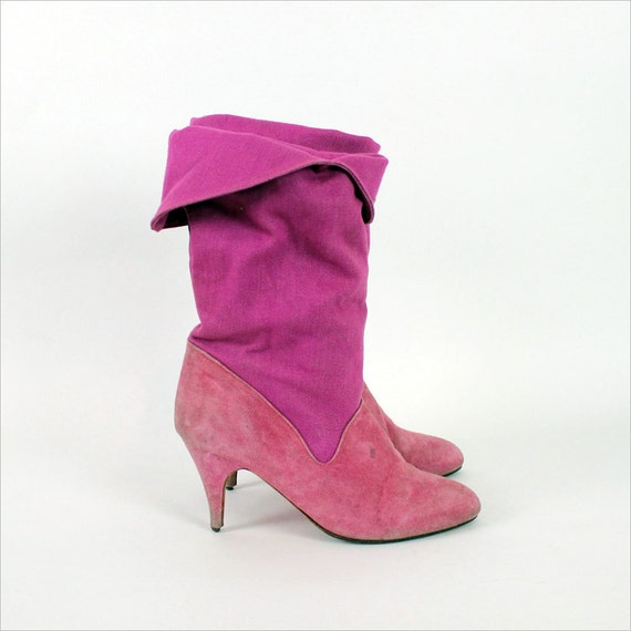pink boots 5 1/2 : raspberry denim & suede heeled boots / vintage Candies