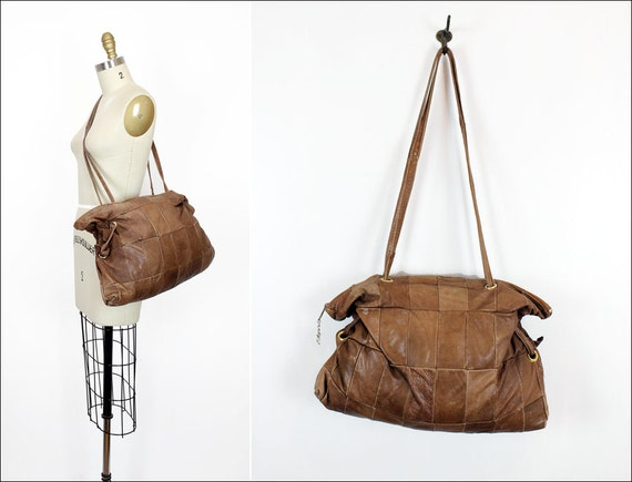 sepia leather slouchy tote / large patchwork 80s bag