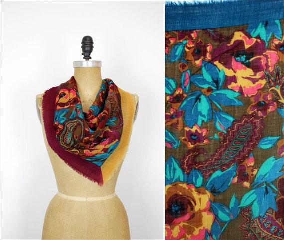 SALE jewel floral wool scarf / folk babushka scarf
