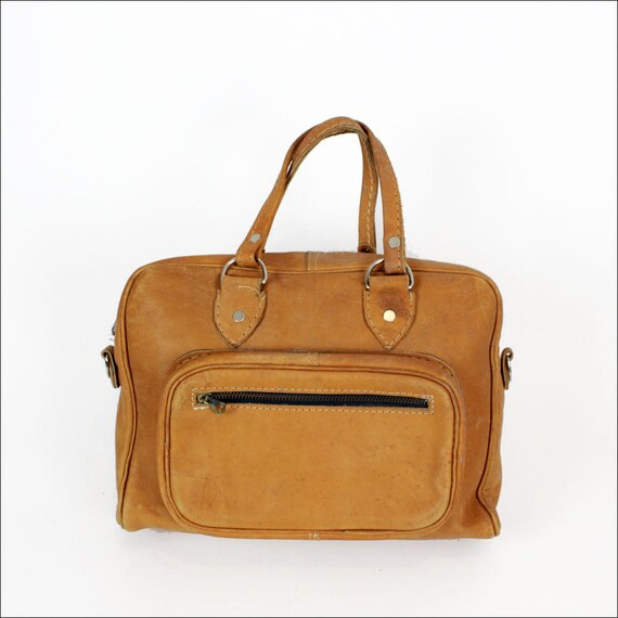 boxy top handle leather satchel 1970s / oak brown