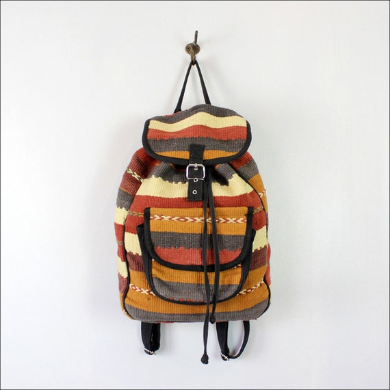 tribal backpack // striped woven kilim napsack