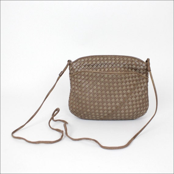 woven leather cross body bag / small taupe leather Ganson pouch