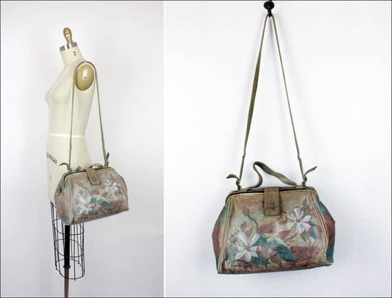 floral painted leather doctor bag / wearable art satchel / top handle & long strap
