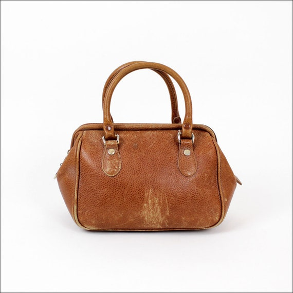 distressed leather mini doctor bag / 1980s liz claiborne