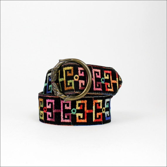 rainbow velvet belt / brass DOG buckle