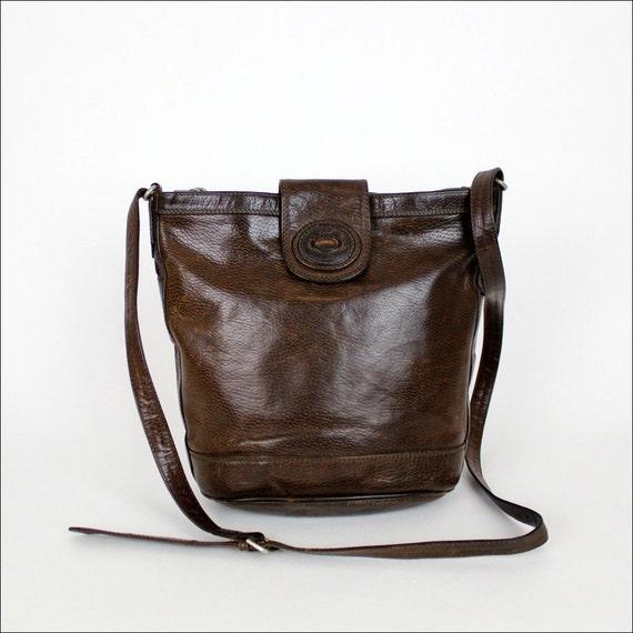 leather bucket bag / espresso brown cross body purse