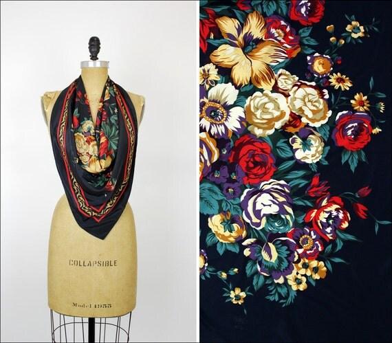 baroque floral bouquet silky scarf