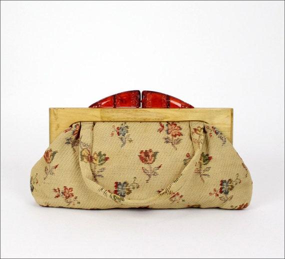 SALE tapestry purse wood handle & faux bakelite clasp
