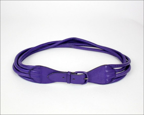 electric purple leather rope belt S/M Georges Gautier