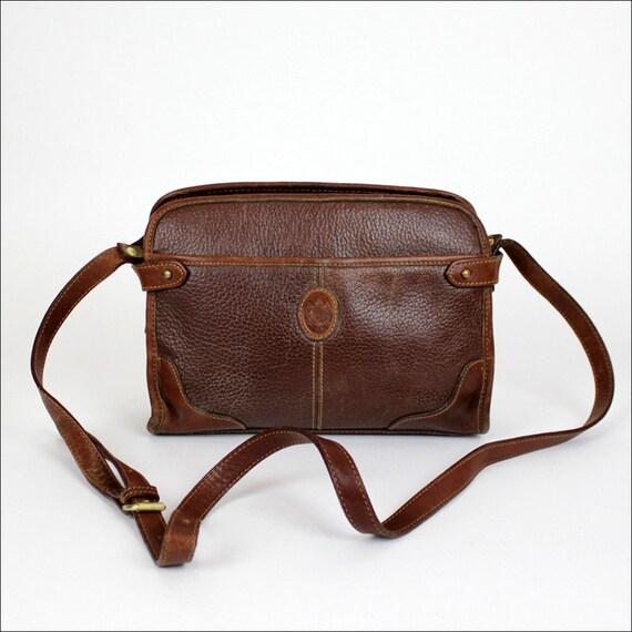 brown pebble leather crossbody satchel / Liz Claiborne blazer bag
