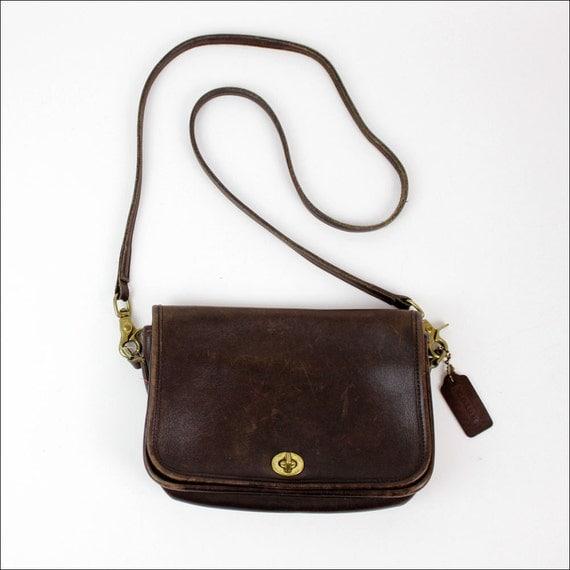 Coach brown leather sling bag / long strap cross body bag