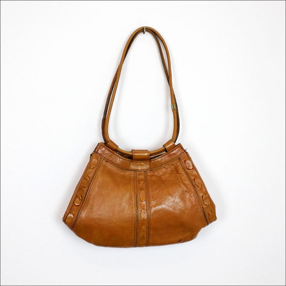 1970s rust leather hobo w/ lacing