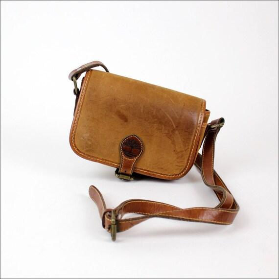 vintage Timberland cross body satchel / distressed leather sling bag