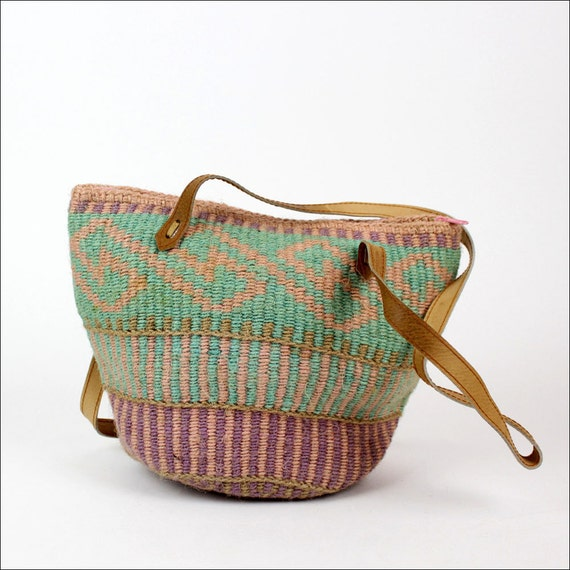 southwest straw market bag / woven pastel bucket tote / leather handles